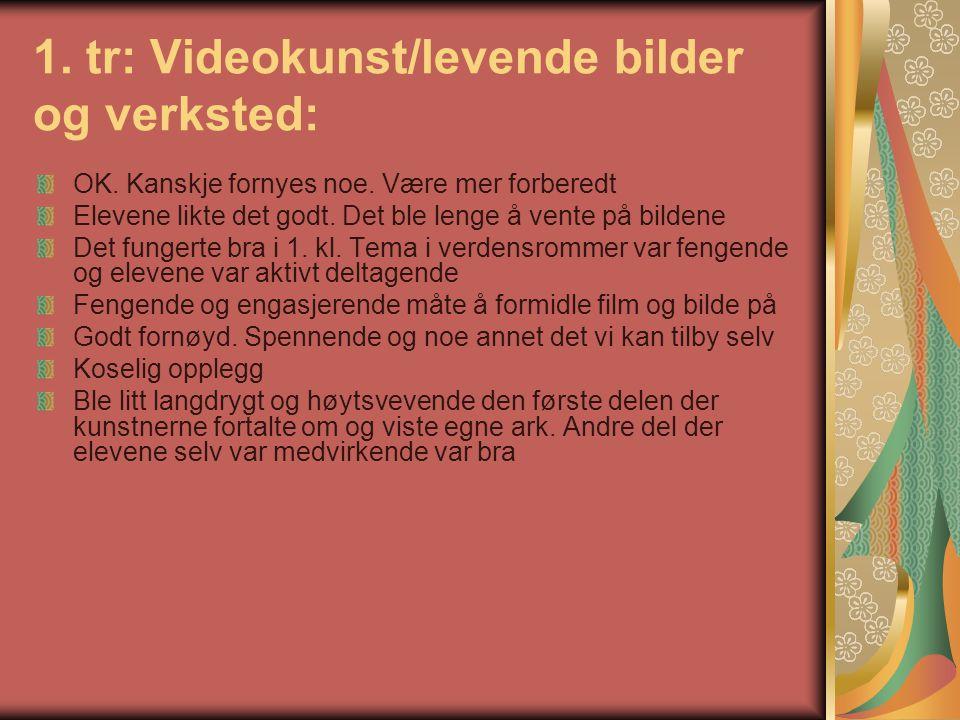 1. tr: Videokunst/levende bilder og verksted: OK.