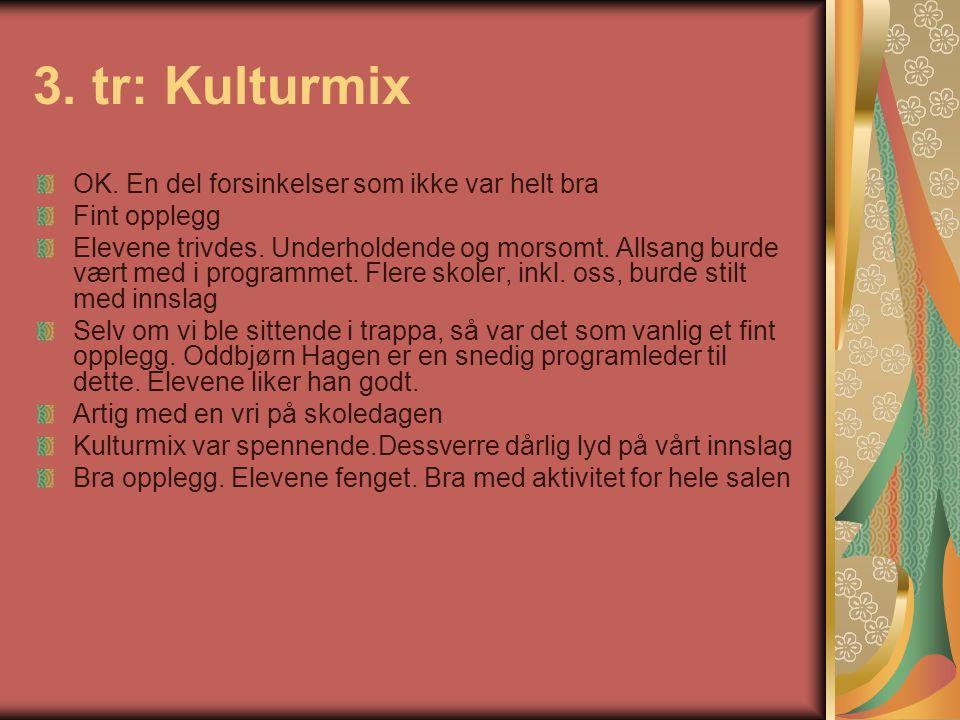 3. tr: Kulturmix OK. En del forsinkelser som ikke var helt bra Fint opplegg Elevene trivdes. Underholdende og morsomt. Allsang burde vært med i progra