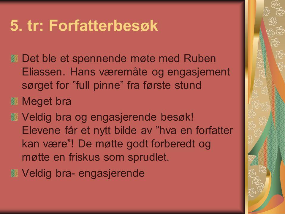 """5. tr: Forfatterbesøk Det ble et spennende møte med Ruben Eliassen. Hans væremåte og engasjement sørget for """"full pinne"""" fra første stund Meget bra Ve"""