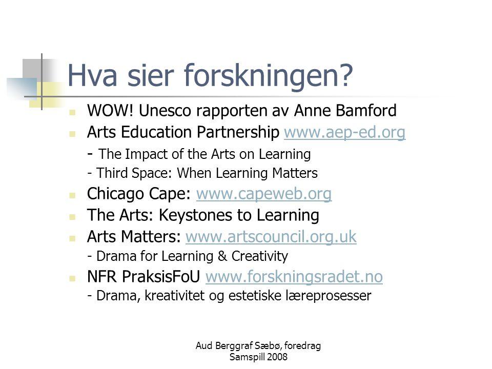 Aud Berggraf Sæbø, foredrag Samspill 2008 Hva sier forskningen.
