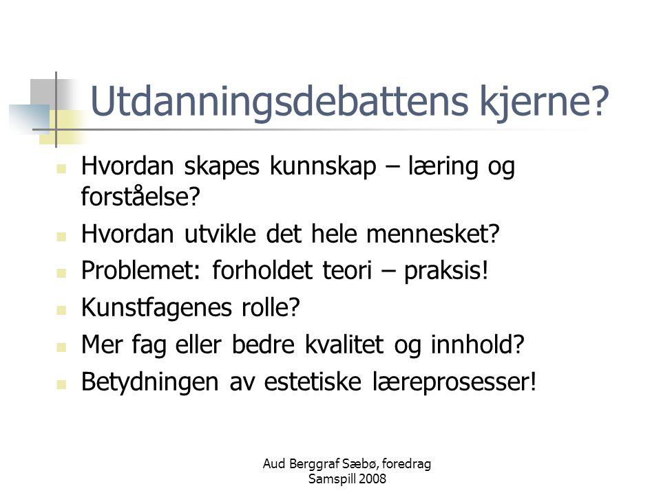 Aud Berggraf Sæbø, foredrag Samspill 2008 Estetiske læreprosesser Begrepet ESTETIKK Den estetiske dimensjonen Kultur for læring og Kunnskapsløftet 06 Hva er estetiske læreprosesser.