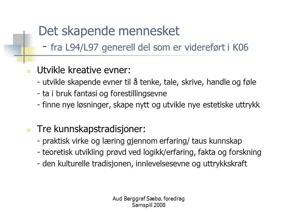 Aud Berggraf Sæbø, foredrag Samspill 2008 Den estetiske dimensjonen Elevene skal møte kunst og kulturformer som uttrykker både menneskers individualitet og fellesskap, og som stimulerer deres kreativitet og nyskapende evner.
