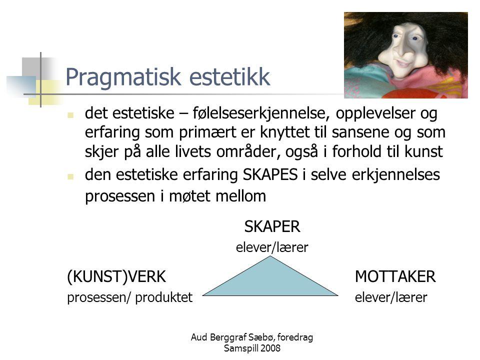 Aud Berggraf Sæbø, foredrag Samspill 2008 Pragmatisk estetikk det estetiske – følelseserkjennelse, opplevelser og erfaring som primært er knyttet til sansene og som skjer på alle livets områder, også i forhold til kunst den estetiske erfaring SKAPES i selve erkjennelses prosessen i møtet mellom SKAPER elever/lærer (KUNST)VERK MOTTAKER prosessen/ produktet elever/lærer