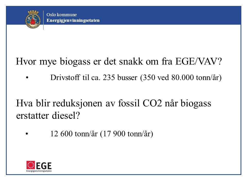 Oslo kommune Energigjenvinningsetaten Hvor mye biogass er det snakk om fra EGE/VAV? Drivstoff til ca. 235 busser (350 ved 80.000 tonn/år) Hva blir red