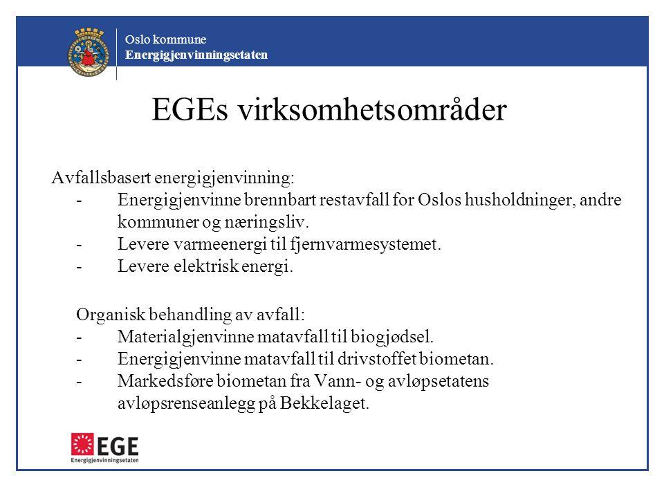 Oslo kommune Energigjenvinningsetaten EGEs virksomhetsområder Avfallsbasert energigjenvinning: -Energigjenvinne brennbart restavfall for Oslos hushold