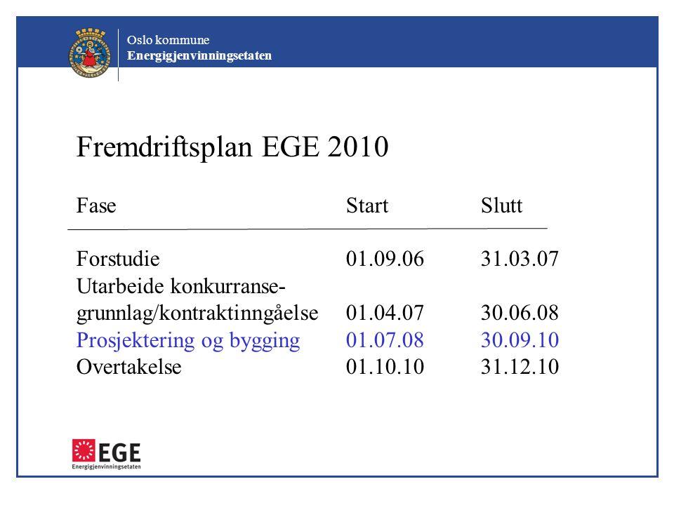 Oslo kommune Energigjenvinningsetaten Fremdriftsplan EGE 2010 FaseStartSlutt Forstudie01.09.0631.03.07 Utarbeide konkurranse- grunnlag/kontraktinngåel