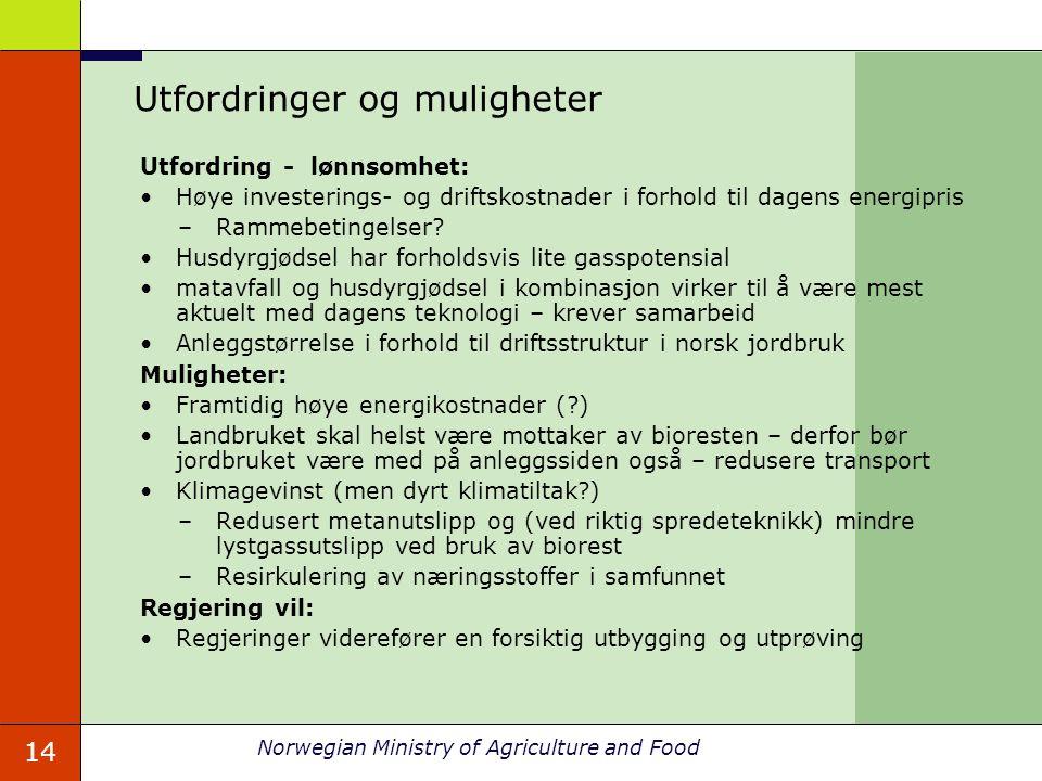 14 Norwegian Ministry of Agriculture and Food Utfordringer og muligheter Utfordring - lønnsomhet: Høye investerings- og driftskostnader i forhold til dagens energipris –Rammebetingelser.