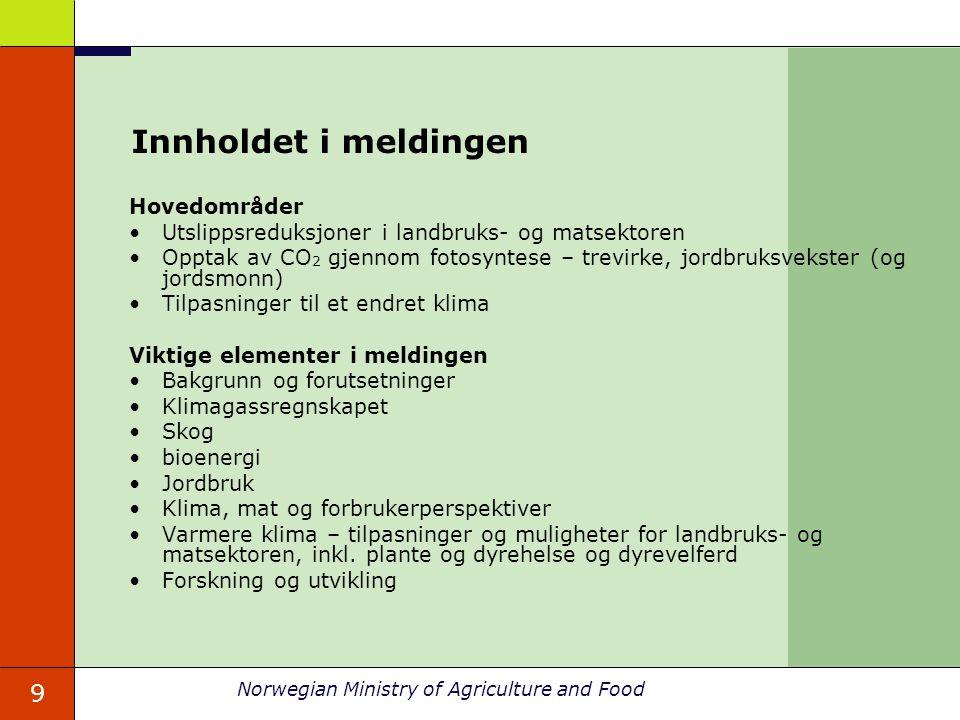 9 Norwegian Ministry of Agriculture and Food Innholdet i meldingen Hovedområder Utslippsreduksjoner i landbruks- og matsektoren Opptak av CO 2 gjennom fotosyntese – trevirke, jordbruksvekster (og jordsmonn) Tilpasninger til et endret klima Viktige elementer i meldingen Bakgrunn og forutsetninger Klimagassregnskapet Skog bioenergi Jordbruk Klima, mat og forbrukerperspektiver Varmere klima – tilpasninger og muligheter for landbruks- og matsektoren, inkl.