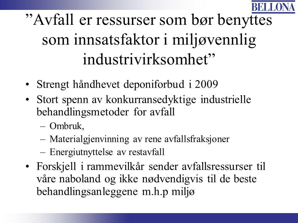 """""""Avfall er ressurser som bør benyttes som innsatsfaktor i miljøvennlig industrivirksomhet"""" Strengt håndhevet deponiforbud i 2009 Stort spenn av konkur"""