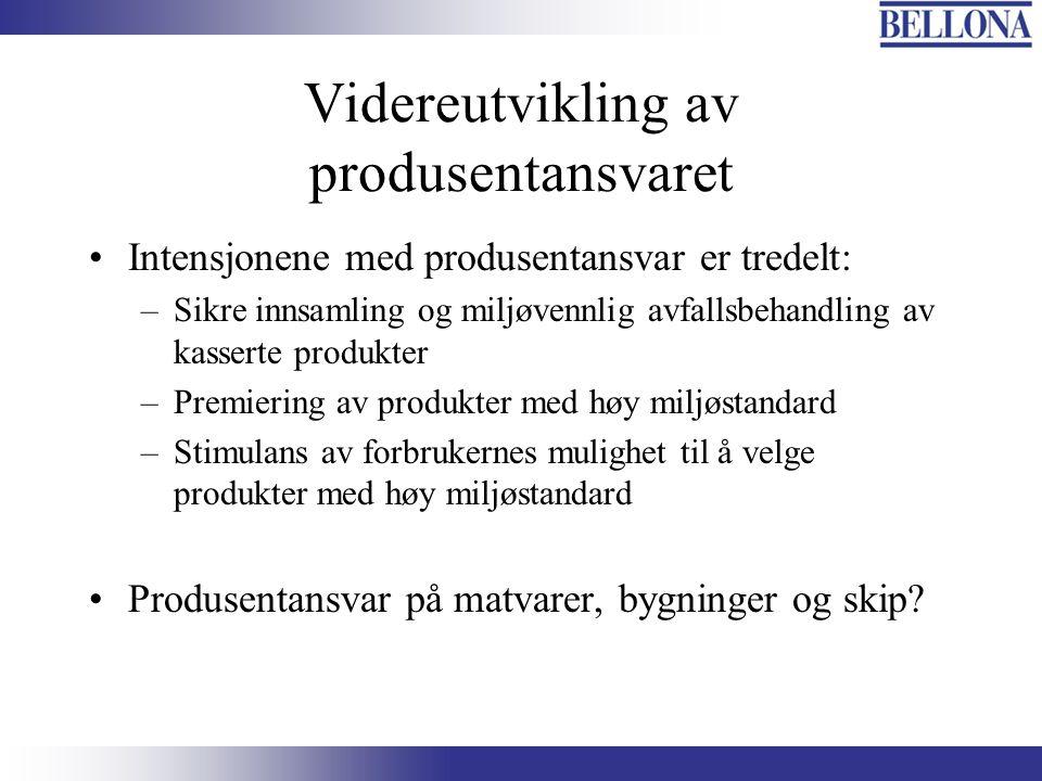 Videreutvikling av produsentansvaret Intensjonene med produsentansvar er tredelt: –Sikre innsamling og miljøvennlig avfallsbehandling av kasserte prod