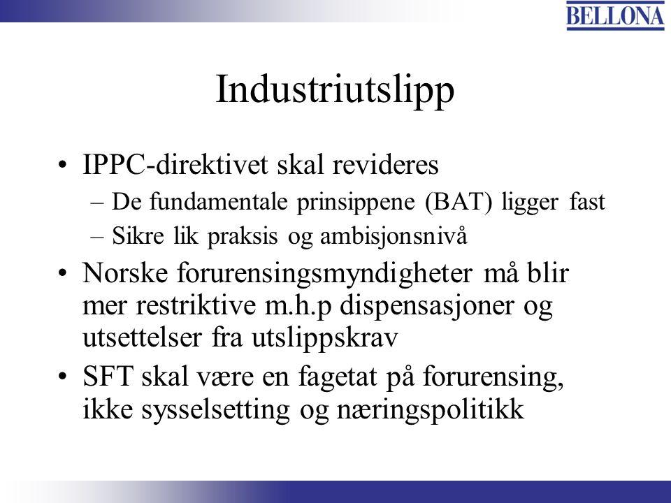 Industriutslipp IPPC-direktivet skal revideres –De fundamentale prinsippene (BAT) ligger fast –Sikre lik praksis og ambisjonsnivå Norske forurensingsm