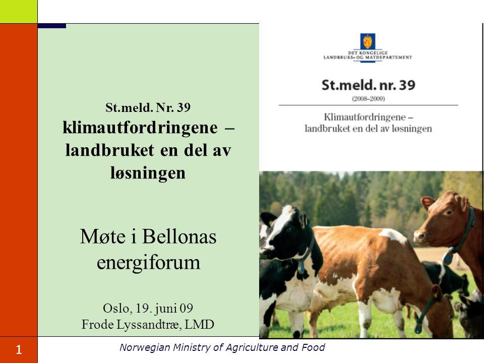 12 Norwegian Ministry of Agriculture and Food Biogass basert på husdyrgjødsel (og matavfall) Forskning: FME – forskningssenter for miljøvennlig energi - bioenergi Prosjekter i programmet Natur og Næring Utvikling: Utviklingsprogram for klimatiltak er opprettet.