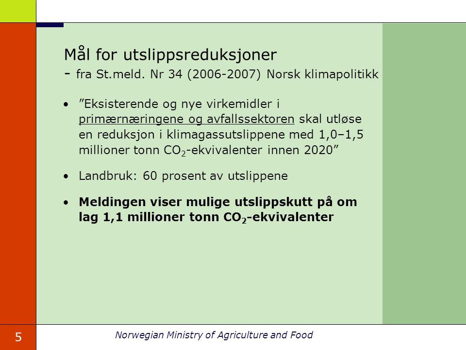 """5 Norwegian Ministry of Agriculture and Food Mål for utslippsreduksjoner - fra St.meld. Nr 34 (2006-2007) Norsk klimapolitikk """"Eksisterende og nye vir"""