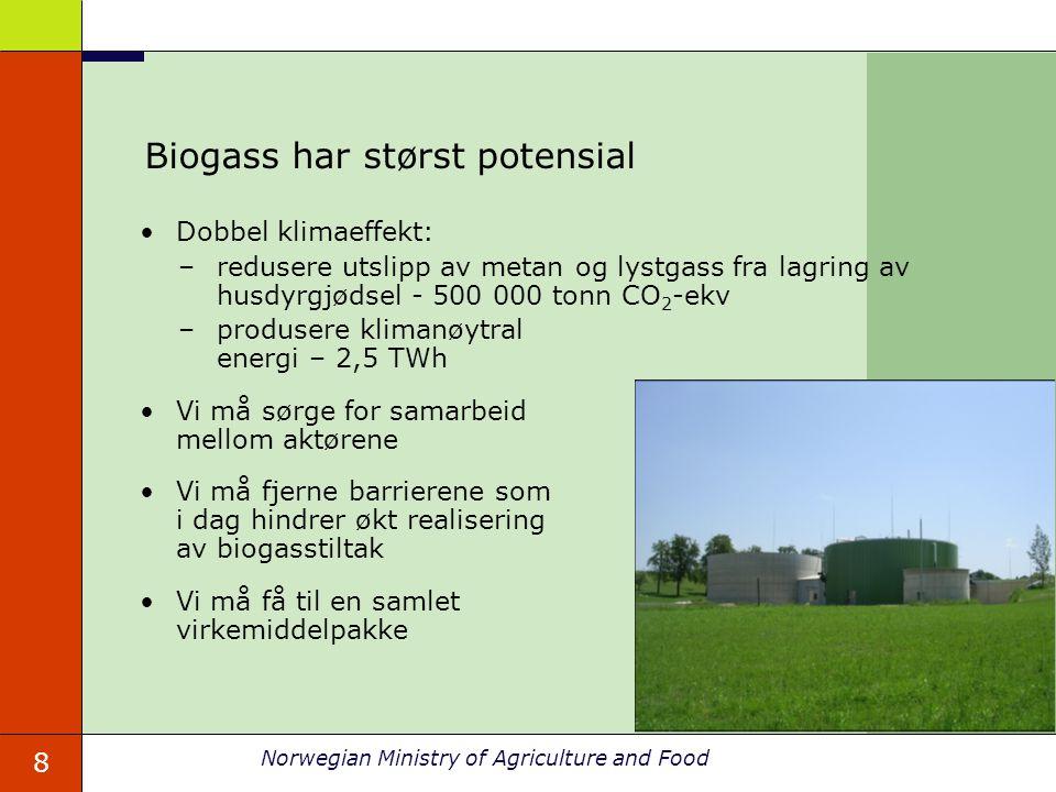 8 Norwegian Ministry of Agriculture and Food Biogass har størst potensial Dobbel klimaeffekt: –redusere utslipp av metan og lystgass fra lagring av hu