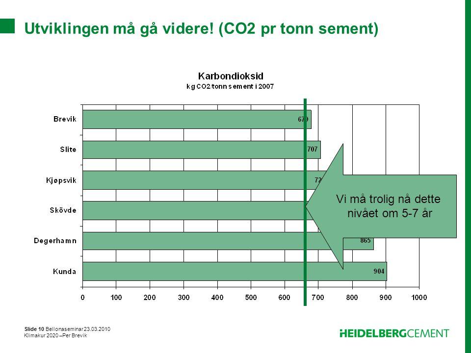 Slide 10 Bellonaseminar 23.03.2010 Klimakur 2020 –Per Brevik Utviklingen må gå videre! (CO2 pr tonn sement) Vi må trolig nå dette nivået om 5-7 år