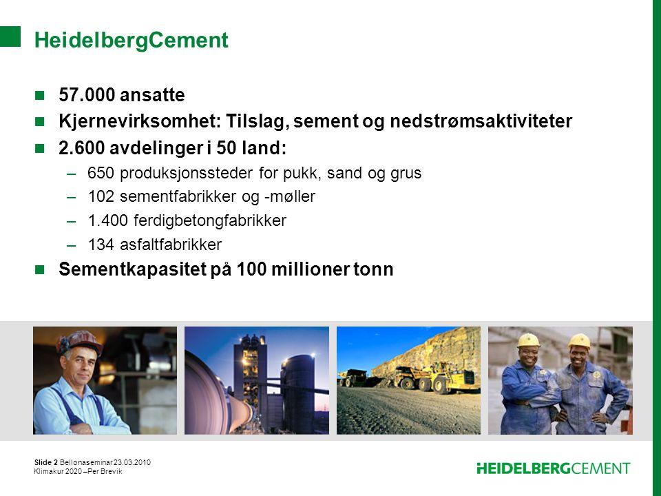 Slide 2 Bellonaseminar 23.03.2010 Klimakur 2020 –Per Brevik HeidelbergCement 57.000 ansatte Kjernevirksomhet: Tilslag, sement og nedstrømsaktiviteter