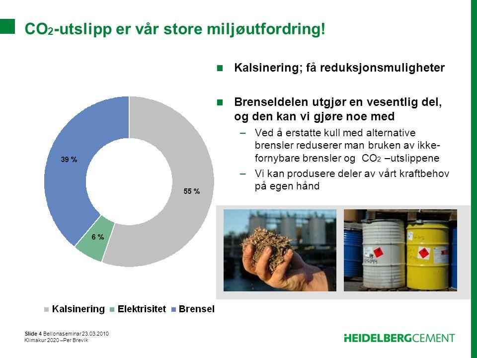 Slide 4 Bellonaseminar 23.03.2010 Klimakur 2020 –Per Brevik CO 2 -utslipp er vår store miljøutfordring! Kalsinering; få reduksjonsmuligheter Brenselde