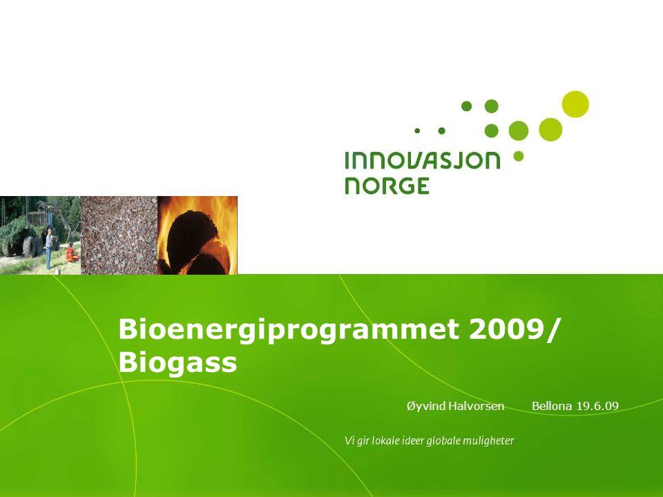 Bioenergiprogrammet 2009/ Biogass Øyvind Halvorsen Bellona 19.6.09