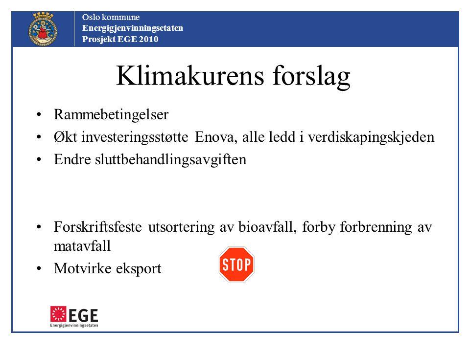 Oslo kommune Energigjenvinningsetaten Prosjekt EGE 2010 Klimakurens forslag Rammebetingelser Økt investeringsstøtte Enova, alle ledd i verdiskapingskj