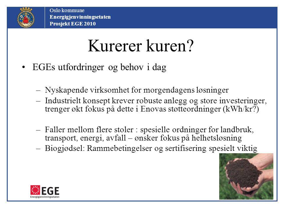 Oslo kommune Energigjenvinningsetaten Prosjekt EGE 2010 Kurerer kuren? EGEs utfordringer og behov i dag –Nyskapende virksomhet for morgendagens løsnin