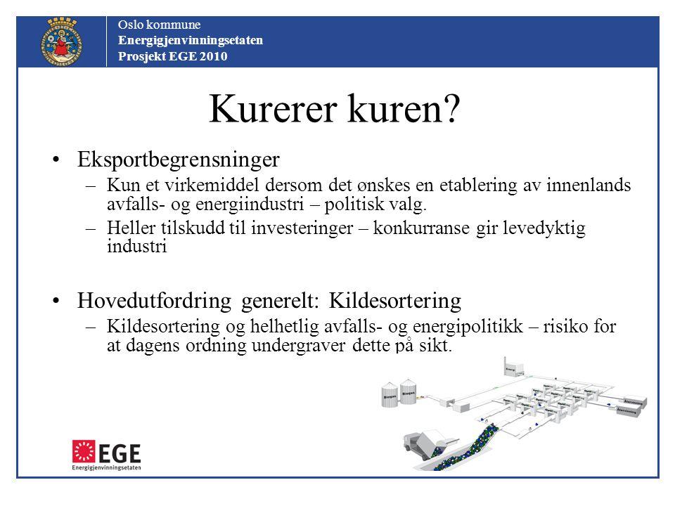Oslo kommune Energigjenvinningsetaten Prosjekt EGE 2010 Kurerer kuren? Eksportbegrensninger –Kun et virkemiddel dersom det ønskes en etablering av inn