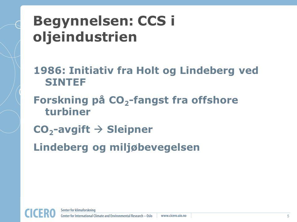 5 Begynnelsen: CCS i oljeindustrien 1986: Initiativ fra Holt og Lindeberg ved SINTEF Forskning på CO 2 -fangst fra offshore turbiner CO 2 -avgift  Sl