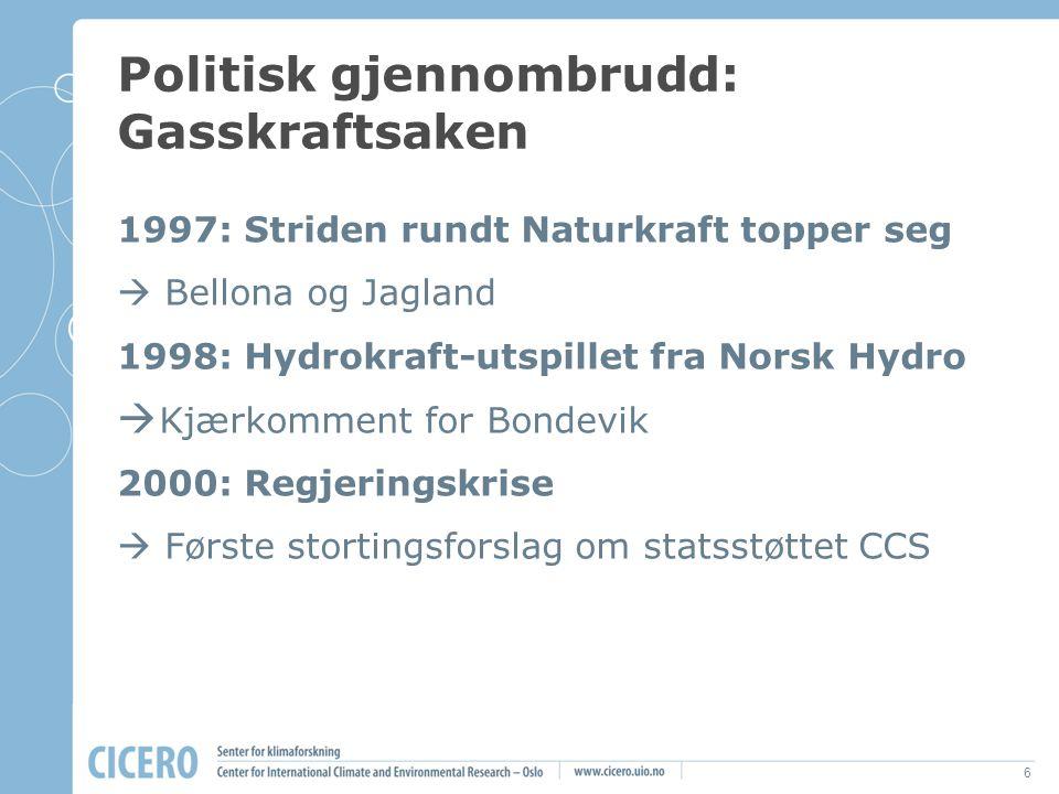 6 Politisk gjennombrudd: Gasskraftsaken 1997: Striden rundt Naturkraft topper seg  Bellona og Jagland 1998: Hydrokraft-utspillet fra Norsk Hydro  Kj