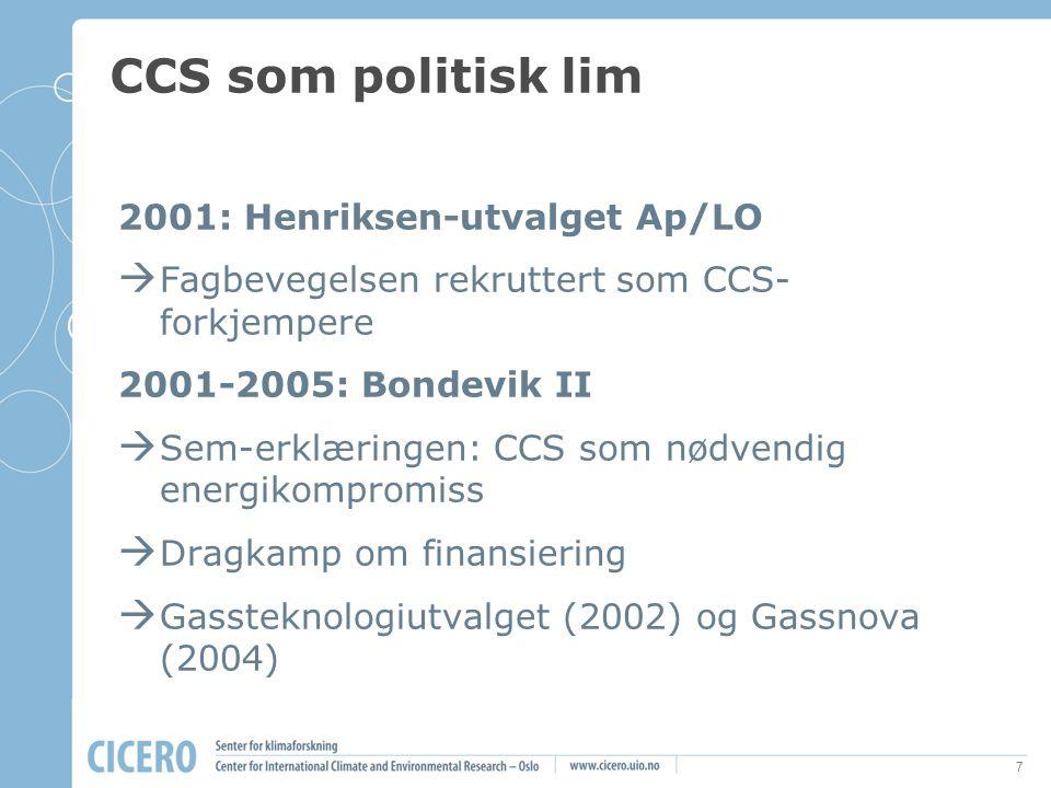 7 CCS som politisk lim 2001: Henriksen-utvalget Ap/LO  Fagbevegelsen rekruttert som CCS- forkjempere 2001-2005: Bondevik II  Sem-erklæringen: CCS so