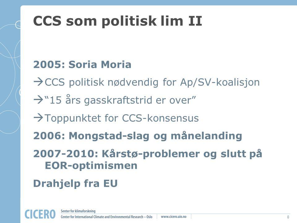 """8 CCS som politisk lim II 2005: Soria Moria  CCS politisk nødvendig for Ap/SV-koalisjon  """"15 års gasskraftstrid er over""""  Toppunktet for CCS-konsen"""