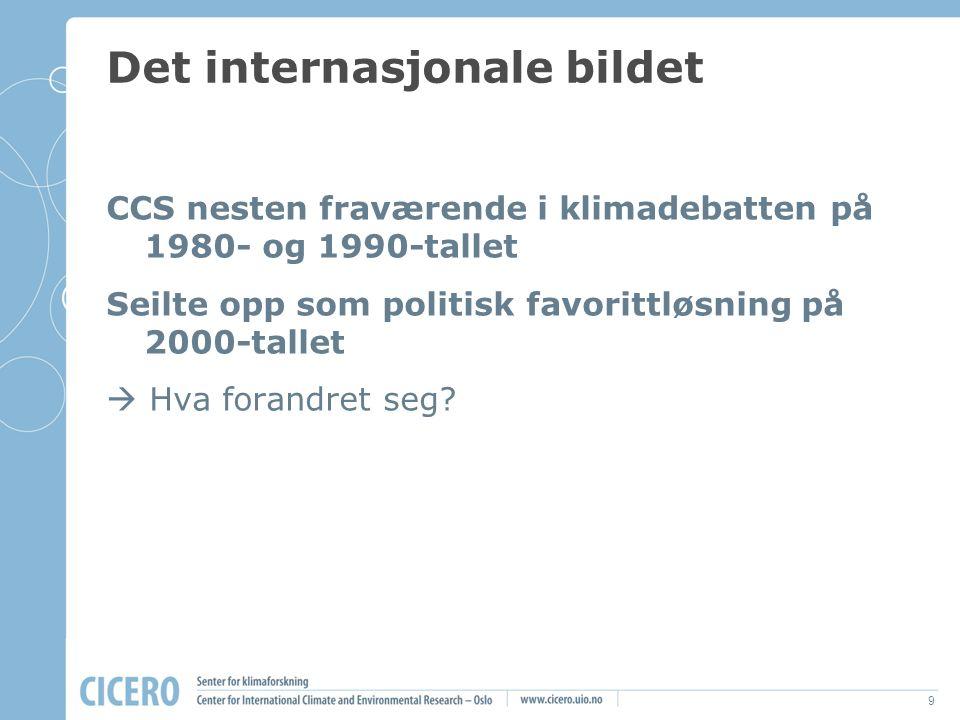 9 Det internasjonale bildet CCS nesten fraværende i klimadebatten på 1980- og 1990-tallet Seilte opp som politisk favorittløsning på 2000-tallet  Hva