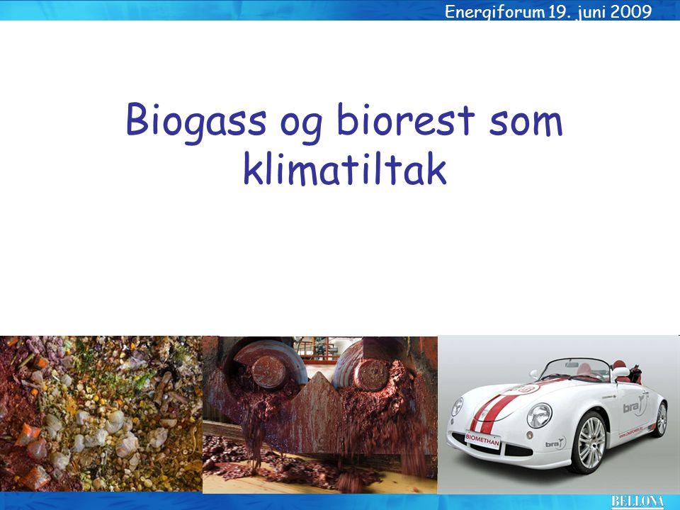 Energiforum 19. juni 2009 Biogass og biorest som klimatiltak