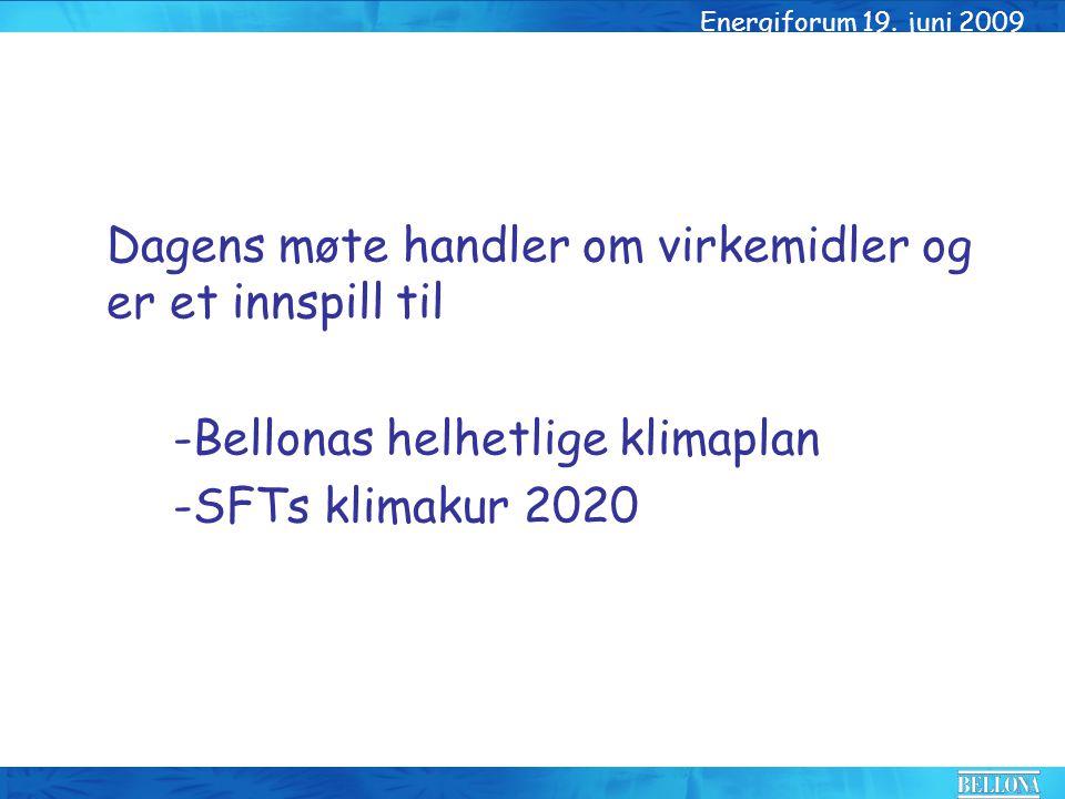 Dagens møte handler om virkemidler og er et innspill til -Bellonas helhetlige klimaplan -SFTs klimakur 2020 Energiforum 19. juni 2009