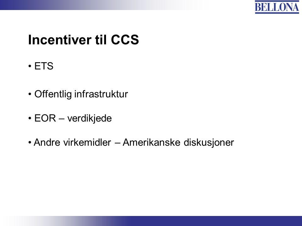 Incentiver til CCS ETS Offentlig infrastruktur EOR – verdikjede Andre virkemidler – Amerikanske diskusjoner