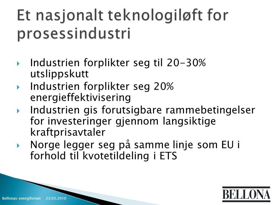  Industrien forplikter seg til 20-30% utslippskutt  Industrien forplikter seg 20% energieffektivisering  Industrien gis forutsigbare rammebetingelser for investeringer gjennom langsiktige kraftprisavtaler  Norge legger seg på samme linje som EU i forhold til kvotetildeling i ETS 23.03.2010 Bellonas energiforum