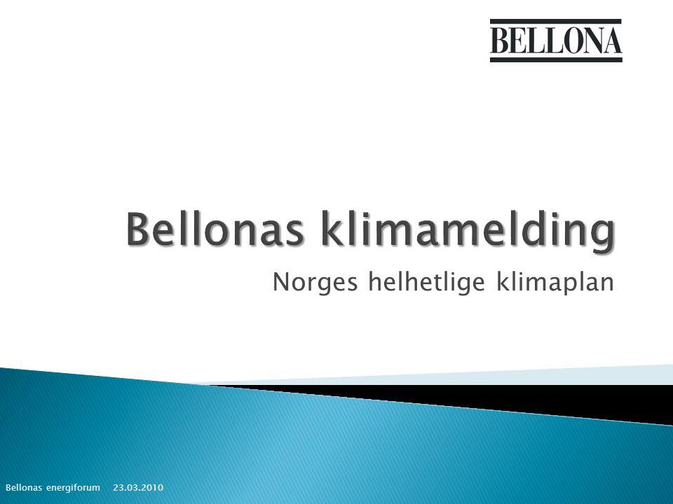 Norges helhetlige klimaplan 23.03.2010 Bellonas energiforum