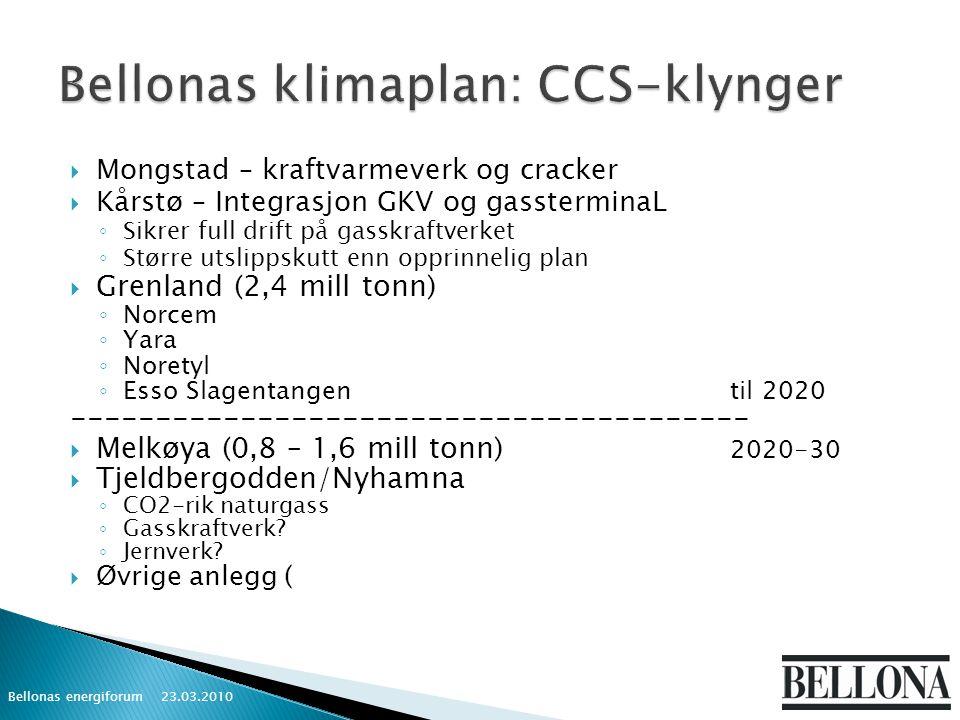  Mongstad – kraftvarmeverk og cracker  Kårstø – Integrasjon GKV og gassterminaL ◦ Sikrer full drift på gasskraftverket ◦ Større utslippskutt enn opprinnelig plan  Grenland (2,4 mill tonn) ◦ Norcem ◦ Yara ◦ Noretyl ◦ Esso Slagentangentil 2020 ----------------------------------------  Melkøya (0,8 – 1,6 mill tonn) 2020-30  Tjeldbergodden/Nyhamna ◦ CO2-rik naturgass ◦ Gasskraftverk.