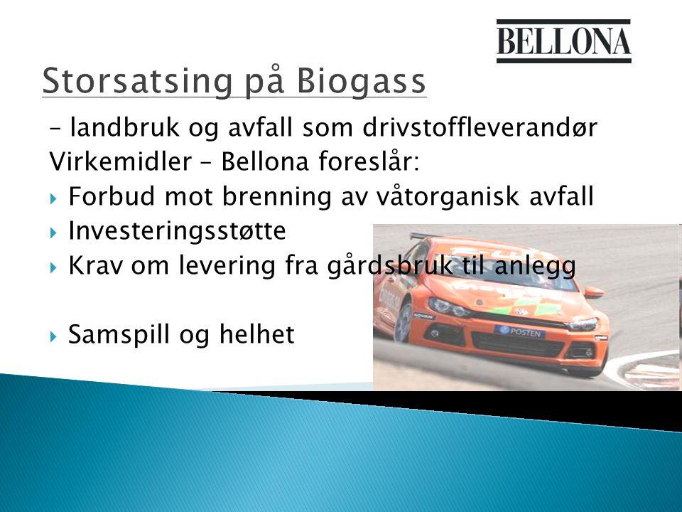 Storsatsing på Biogass – landbruk og avfall som drivstoffleverandør Virkemidler – Bellona foreslår:  Forbud mot brenning av våtorganisk avfall  Investeringsstøtte  Krav om levering fra gårdsbruk til anlegg  Samspill og helhet