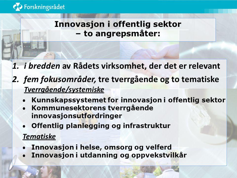Innovasjon i offentlig sektor – to angrepsmåter: 1.i bredden av Rådets virksomhet, der det er relevant 2.fem fokusområder, tre tverrgående og to tematiske Tverrgående/systemiske Kunnskapssystemet for innovasjon i offentlig sektor Kommunesektorens tverrgående innovasjonsutfordringer Offentlig planlegging og infrastruktur Tematiske Innovasjon i helse, omsorg og velferd Innovasjon i utdanning og oppvekstvilkår