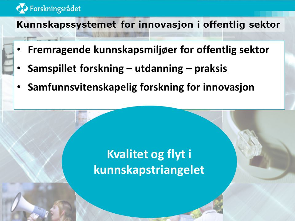 Kunnskapssystemet for innovasjon i offentlig sektor Fremragende kunnskapsmiljøer for offentlig sektor Samspillet forskning – utdanning – praksis Samfunnsvitenskapelig forskning for innovasjon Kvalitet og flyt i kunnskapstriangelet
