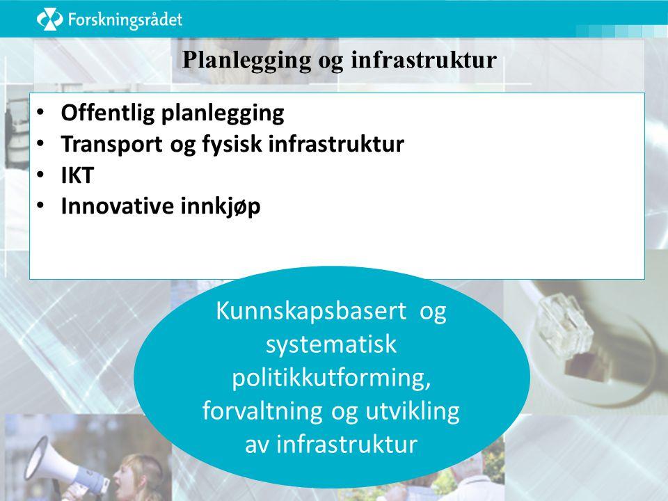 Planlegging og infrastruktur Offentlig planlegging Transport og fysisk infrastruktur IKT Innovative innkjøp Kunnskapsbasert og systematisk politikkutforming, forvaltning og utvikling av infrastruktur