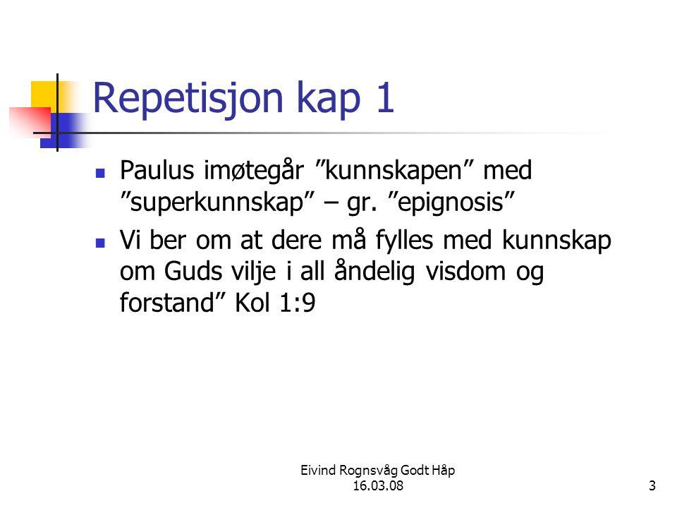 Eivind Rognsvåg Godt Håp 16.03.084 Repetisjon kap 1 Dette hadde en hensikt V 10 så dere kan vandre verdig for Herren.