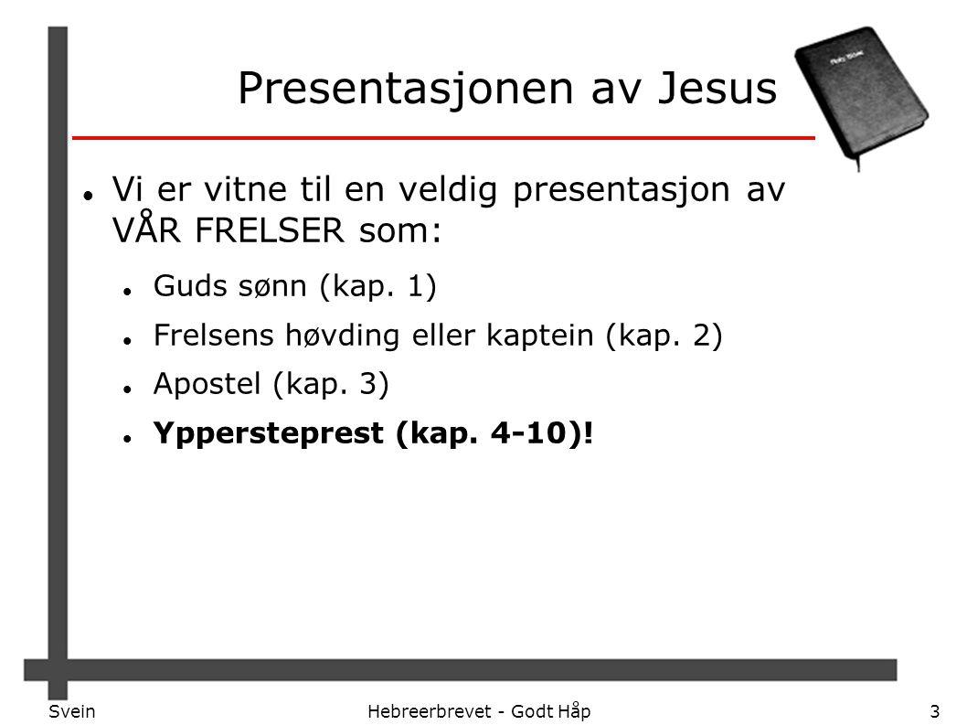 SveinHebreerbrevet - Godt Håp3 Presentasjonen av Jesus Vi er vitne til en veldig presentasjon av VÅR FRELSER som: Guds sønn (kap. 1) Frelsens høvding
