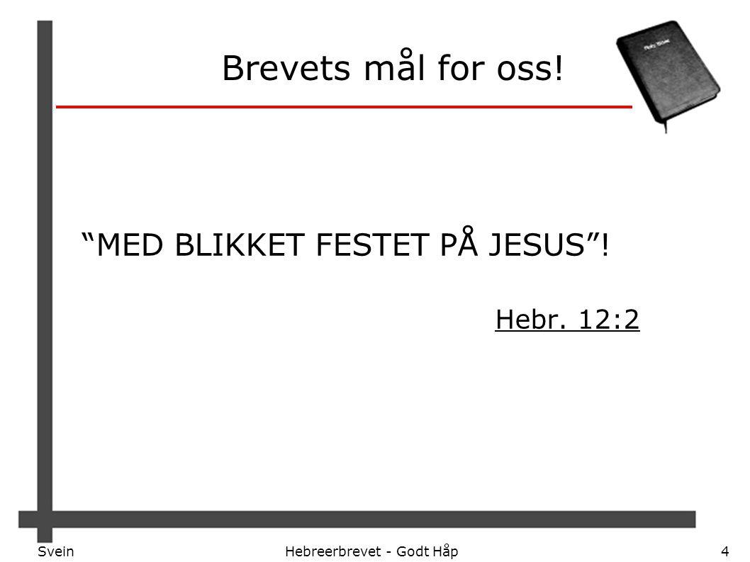 """SveinHebreerbrevet - Godt Håp4 Brevets mål for oss! """"MED BLIKKET FESTET PÅ JESUS""""! Hebr. 12:2"""