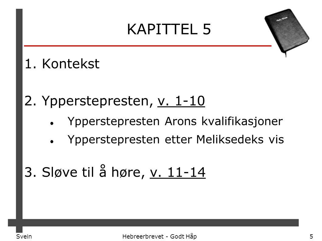 SveinHebreerbrevet - Godt Håp6 1.KONTEKST Brevets store hovedtema starter i kap.
