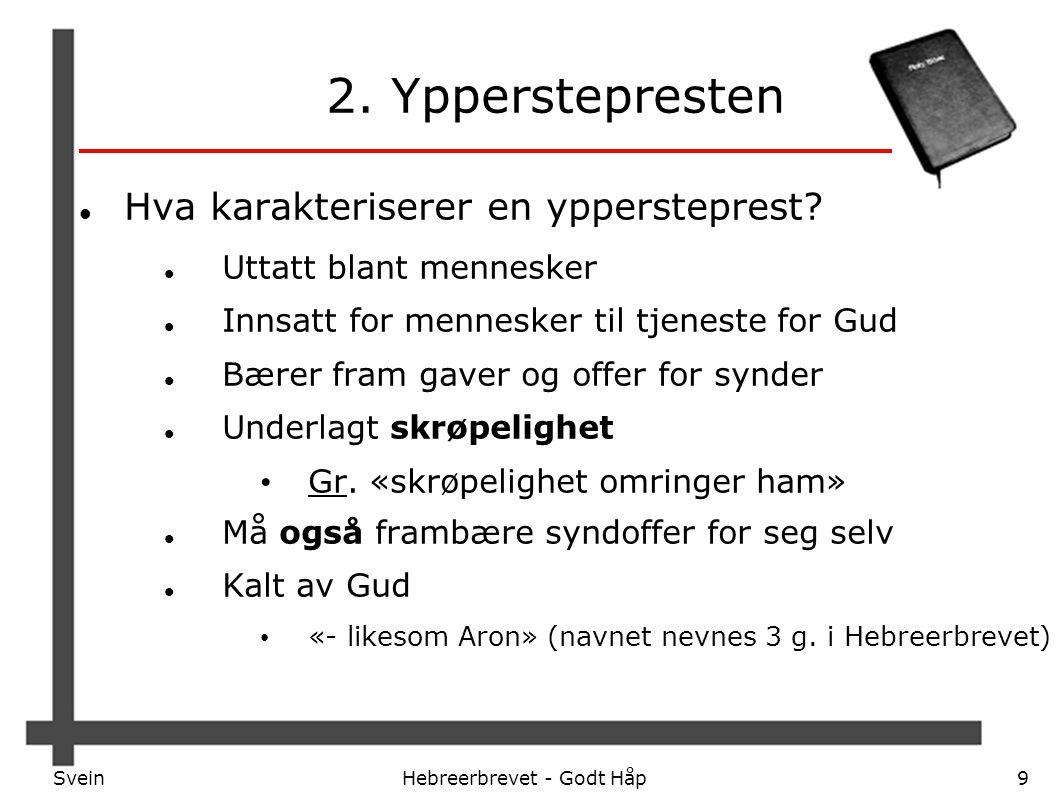 SveinHebreerbrevet - Godt Håp9 2. Ypperstepresten Hva karakteriserer en yppersteprest? Uttatt blant mennesker Innsatt for mennesker til tjeneste for G