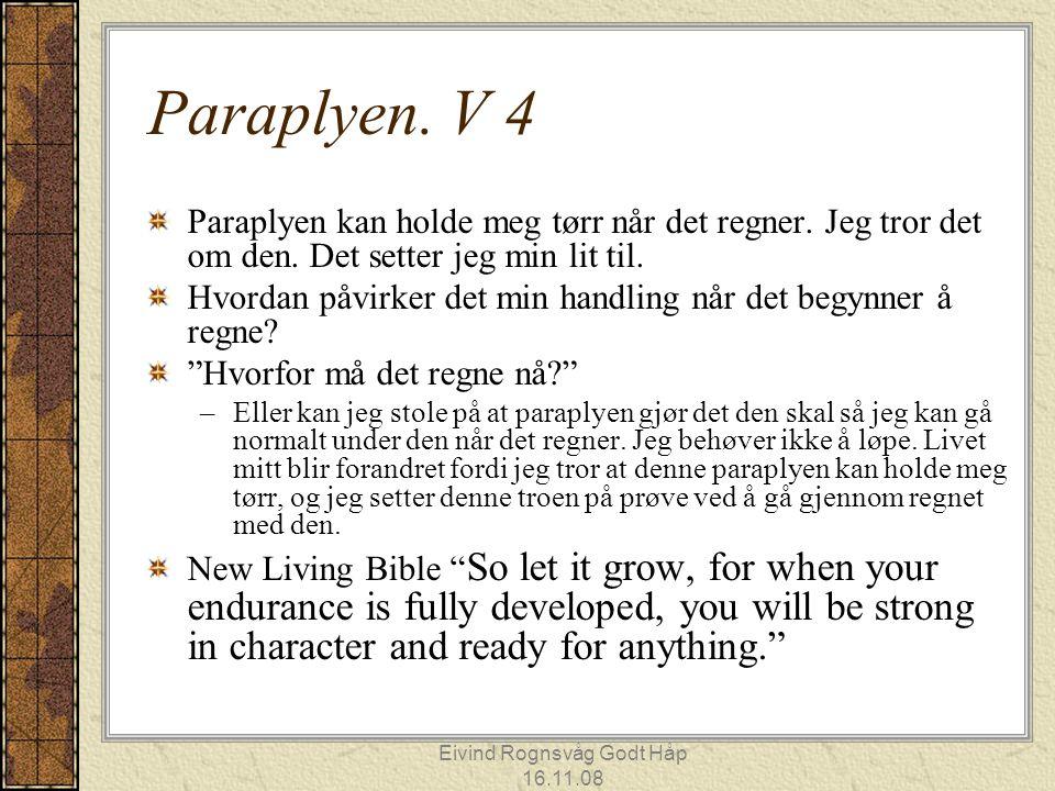 Eivind Rognsvåg Godt Håp 16.11.08 Paraplyen. V 4 Paraplyen kan holde meg tørr når det regner. Jeg tror det om den. Det setter jeg min lit til. Hvordan