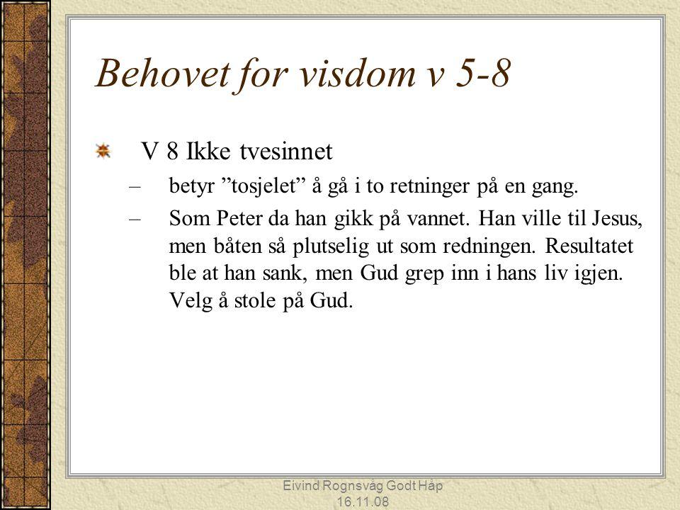 """Eivind Rognsvåg Godt Håp 16.11.08 Behovet for visdom v 5-8 V 8 Ikke tvesinnet –betyr """"tosjelet"""" å gå i to retninger på en gang. –Som Peter da han gikk"""