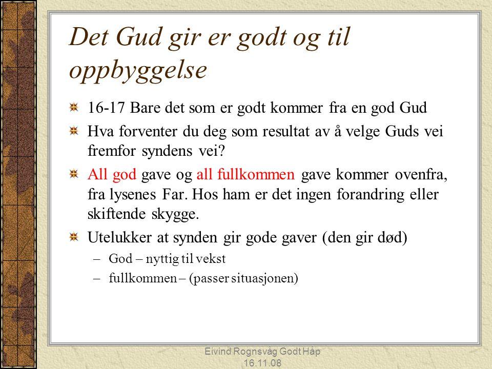 Eivind Rognsvåg Godt Håp 16.11.08 Det Gud gir er godt og til oppbyggelse 16-17 Bare det som er godt kommer fra en god Gud Hva forventer du deg som res