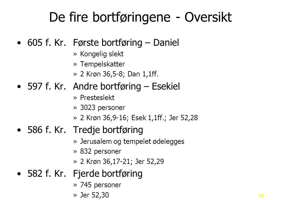 De fire bortføringene - Oversikt 605 f.