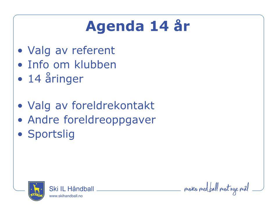 Agenda 14 år Valg av referent Info om klubben 14 åringer Valg av foreldrekontakt Andre foreldreoppgaver Sportslig